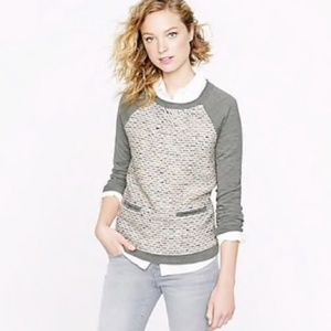 J. Crew wool blend tweed front gray sweater  XS